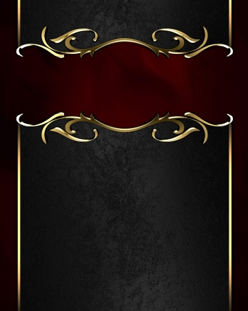 Template for writing. Black name plate with gold ornate edges, on red background Stock Photo