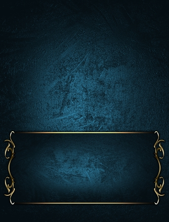 Design template - Blue texture with blue plate and gold ornament photo