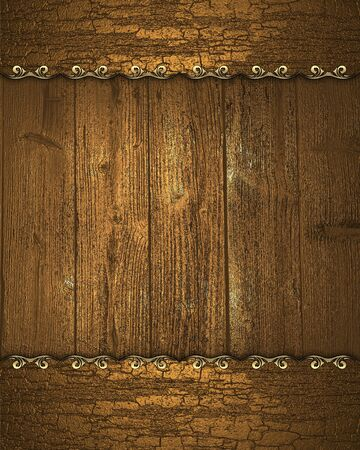 Beautiful wooden background with wooden edge with gold trim photo
