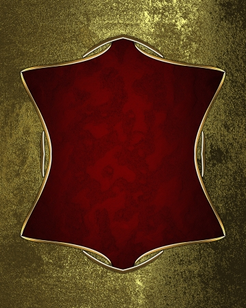 Gold grunge texture with red abstract plate. Template for design photo