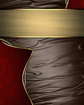 inlays: Abstract brown texture with red inlays with gold trim and gold plate. Template for design