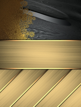 classy background: Abstract Black texture with gold plate with pattern