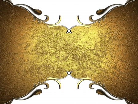 classy background: gold plate with patterned edges on isolated white background Stock Photo