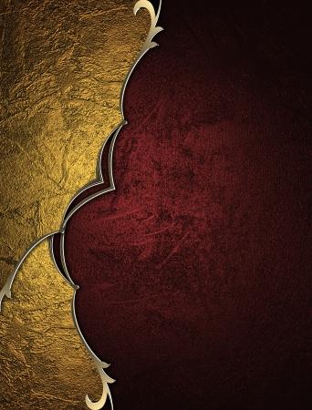 navidad elegante: Fondo rojo con placa de oro abstracto y un hermoso acabado