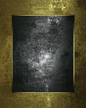 Golden grunge background with a metal nameplate with gold trim photo
