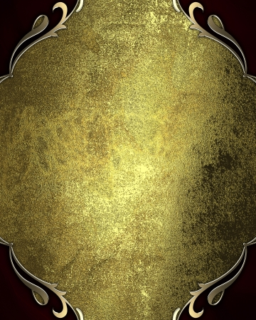 gold plaque: Design template - Grunge gold background with red corners with gold trim
