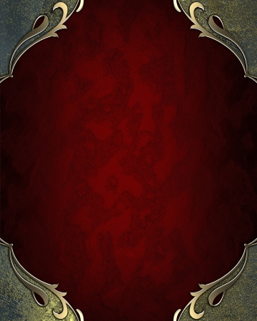Design template - Red background with blue corners with gold trim photo