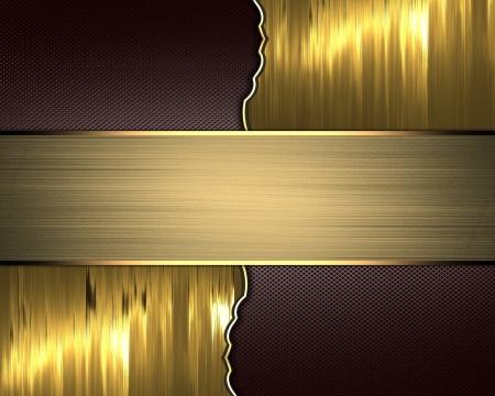 金: ゴールド チップとゴールド プレートをブラウン テクスチャ