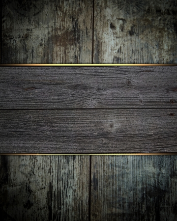 Vintage wooden background with wooden board with gold trim photo