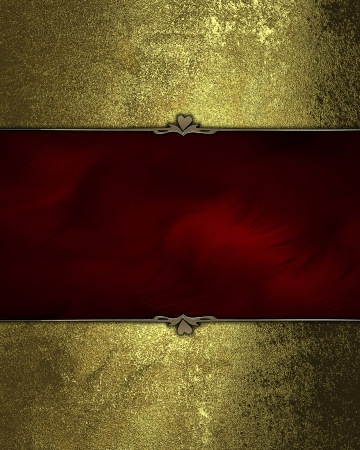 Gold grunge texture with a red plate with a beautiful finish. Layout for printing, design, greeting card photo