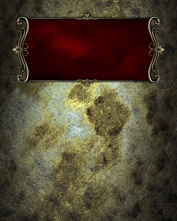 Old grunge texture with red nameplate with gold trim. Layout for printing, design, greeting card photo