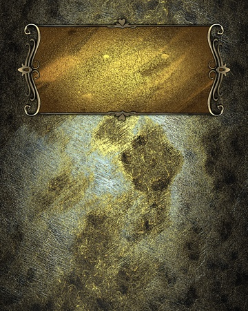 Old grunge texture with gold nameplate with gold trim. Layout for printing, design, greeting card photo