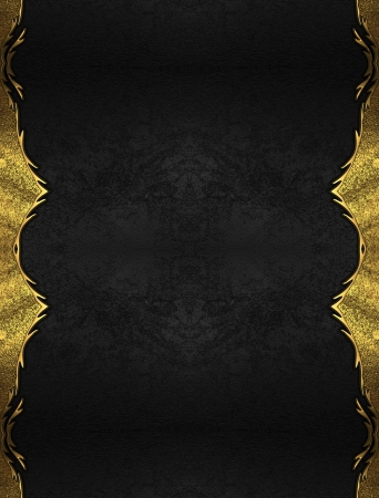 Black background with gold edges with a beautiful finish. Layout for printing, design, greeting card