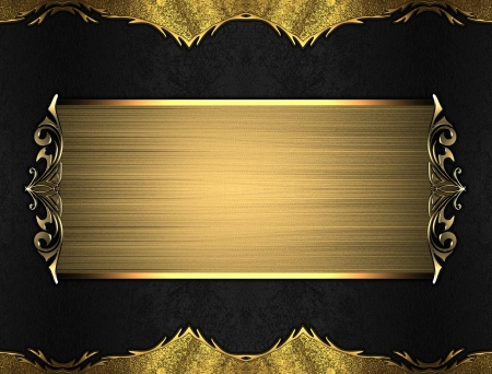 Black background with gold edges with a beautiful finish and gold nameplate. Layout for printing, design, greeting card photo