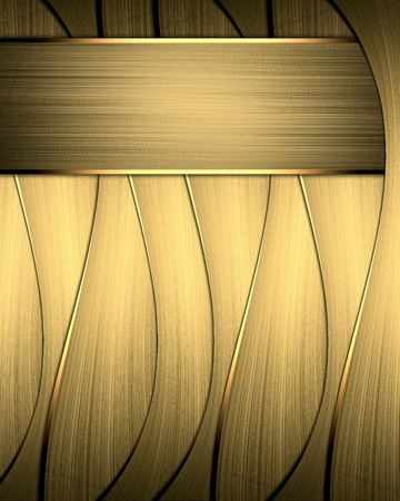 Template for design. Abstract gold striped background with gold trim and gold plate Stock Photo - 19218412