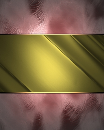 Pink abstract background with abstract gold plate. Design template photo