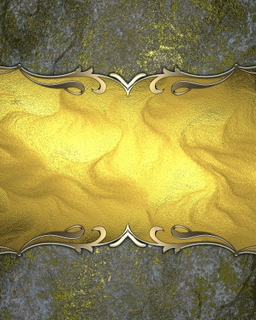 Old shabby yellow background with a gold name plate with gold trim. Design template photo