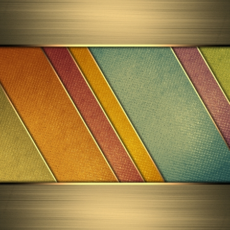 gold plaque: Template for design. Multi-colored background from stripes. A vintage poster. Design for website Stock Photo