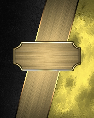 Black and gold background with a nameplate for text. Design template photo