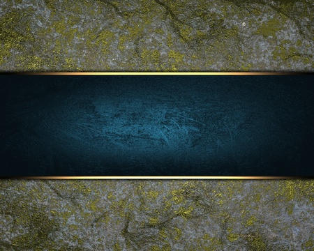 Gray background with a blue nameplate. Background with gold scuffed photo