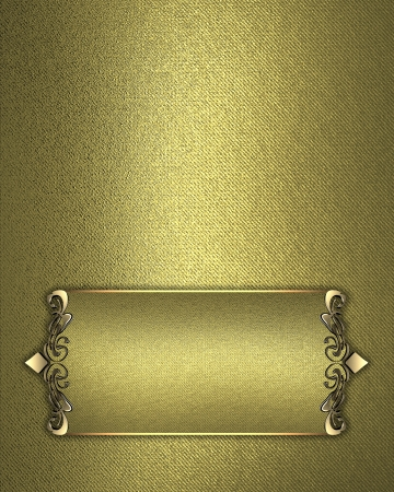 Golden texture with gold name plate with gold trim. Design template. Design for website photo