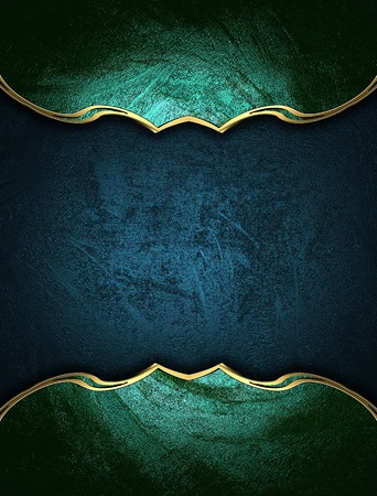 Blue texture with green edges and gold trim. Design template. Design for website photo