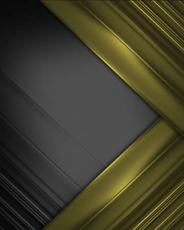 Black texture with gold ribbons on the corners. Design template photo
