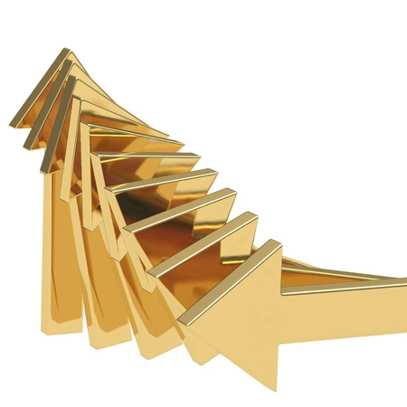 golden arrows going up - success concept illustration illustration
