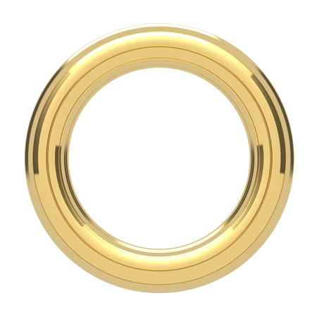 Golden ring copyspace torus isolated on white photo