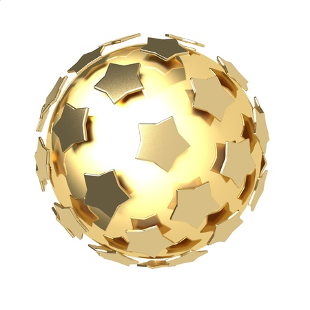 golden stars composition around gold glossy sphere isolated on white background photo
