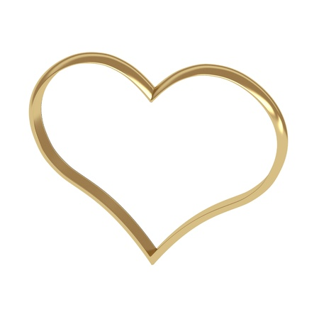 two hearts together: heart shape golden rings