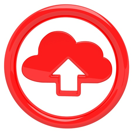 Cloud computing technology icon emblem with symbolic glossy arrow inside isolated on white photo