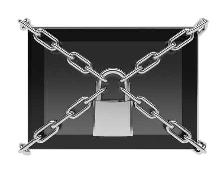 Data protection concept: tablet PC with chains and lock isolated on white background 3d render photo