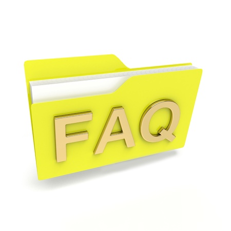 yellow folder 3d icon with FAQ text isolated on white photo
