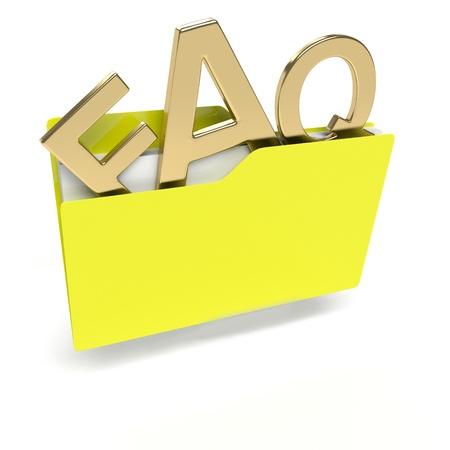 manila: yellow folder 3d icon with FAQ text isolated on white Stock Photo