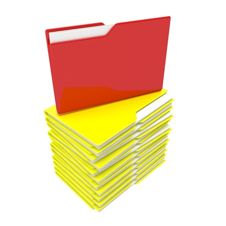 A stack of yellow folder with a red core photo