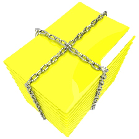 A file folder with chain and padlock closed. Privacy and data security. Stock Photo - 20119576