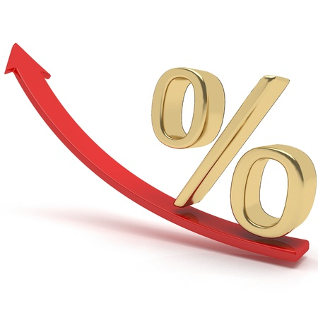 verhogen: Groeiende Percentage Sign Stockfoto