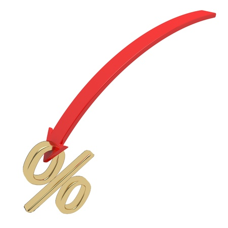 shiny golden percentage symbol with an arrow down Stock Photo - 20119511