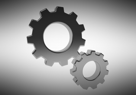 The gears on a gray background Stock Photo - 20119560