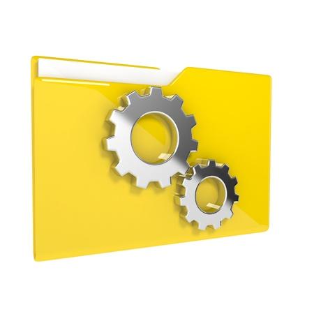 3d illustration of folder icon with gear wheel illustration