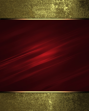 Red texture with gold edges. Design template. photo