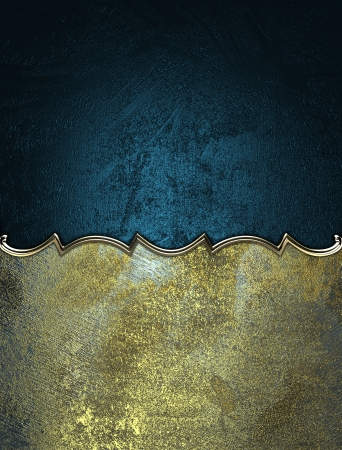 Template for writing. Gold name plate with gold ornate edges on black background photo
