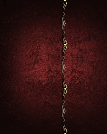 Red grunge background with a red stripe with gold trim. Design element. Template photo