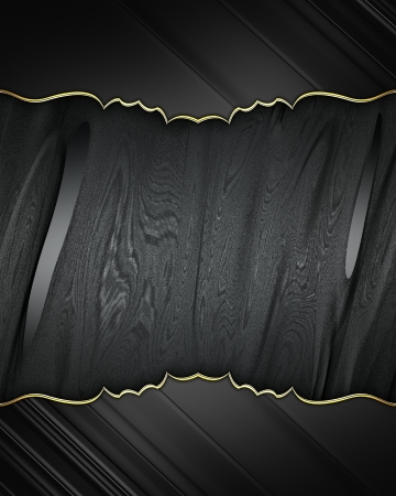 Black edges with gold trim on black background. Design element. Template photo
