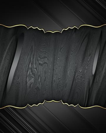 Black edges with gold trim on black background. Design element. Template