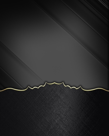 Black edges with gold trim on black background. Design element. Template Stock Photo - 20488063