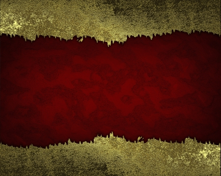 Red background with gold torn edges. Design template. Template photo