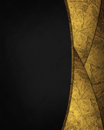 Black background with gold cut (inserts). Design element. Template for website photo