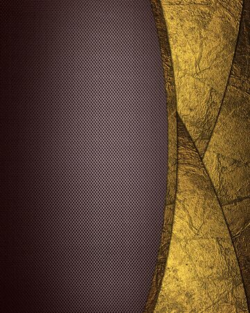 Brown background with gold cut (inserts). Design element. Template for website photo